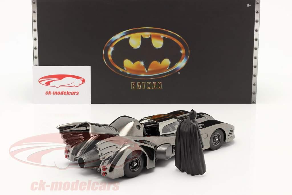 Batmobile with figure Movie Batman (1989) black chrome finish 1:24 Jada Toys