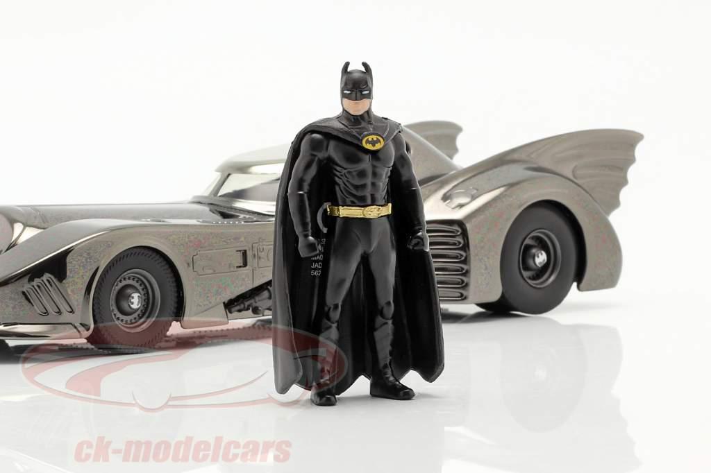 Batmóvel com figura Filme Batman (1989) Preto cromado 1:24 Jada Toys