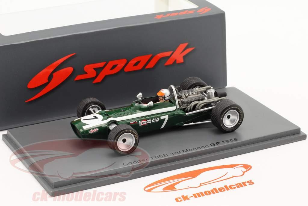 Lucien Bianchi Cooper T86B #7 3° Monaco GP formula 1 1968 1:43 Spark