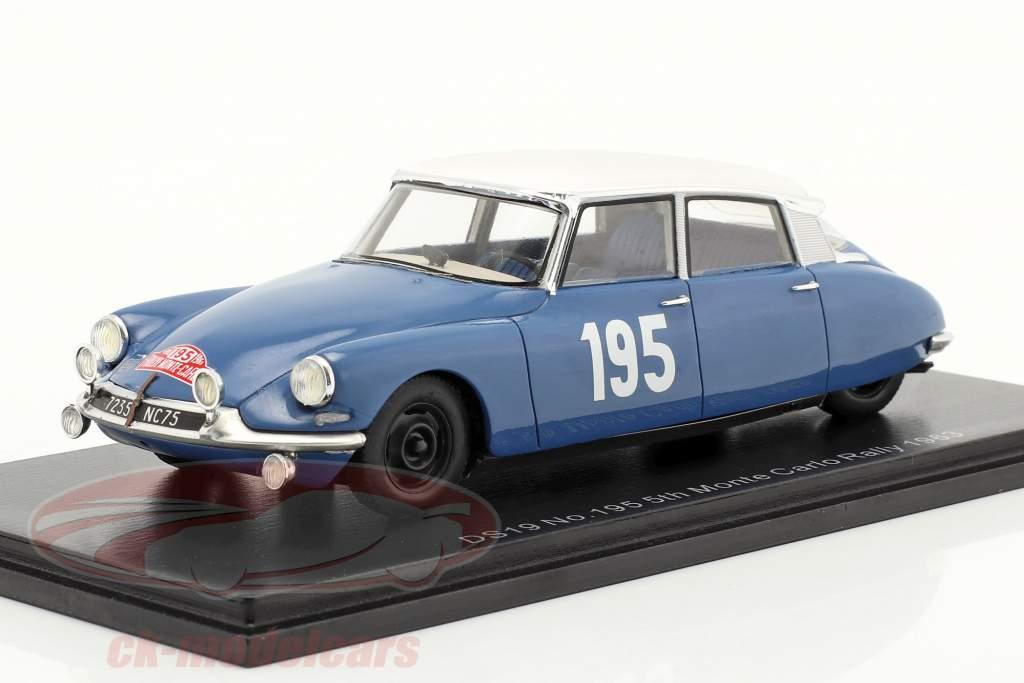 Citroen DS19 #195 Quinto Rallye Monte Carlo 1963 Neyret, Terramorsi 1:43 Spark