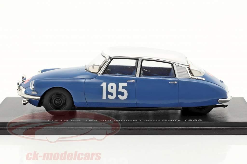 Citroen DS19 #195 5e Rallye Monte Carlo 1963 Neyret, Terramorsi 1:43 Spark