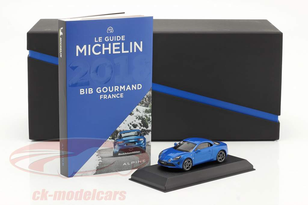 Alpine-Set: Guide Michelin, Opladningskabel og Alpine A110 2017 blå 1:43 Norev