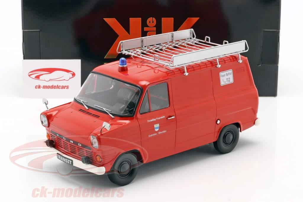 Ford Transit Furgoneta caja Bomberos Westfalen Año de construcción 1965 rojo 1:18 KK-Scale