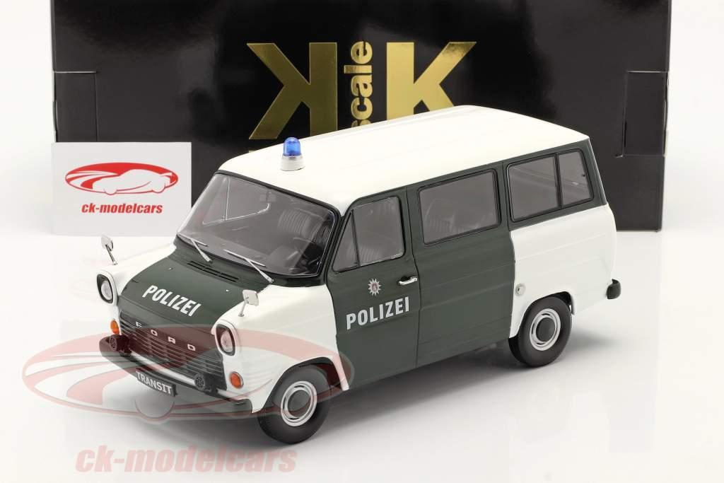 Ford Transit Bus Polizei Hamburg Baujahr 1965 dunkelgrün / weiß 1:18 KK-Scale