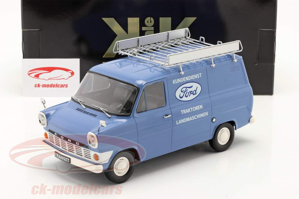 Ford Transit Furgoneta caja Ford Servicio al Cliente Año de construcción 1970 Azul claro 1:18 KK-Scale