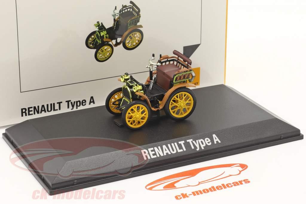Renault Voiturette Type A Año de construcción 1899 negro / marrón / amarillo 1:43 Norev