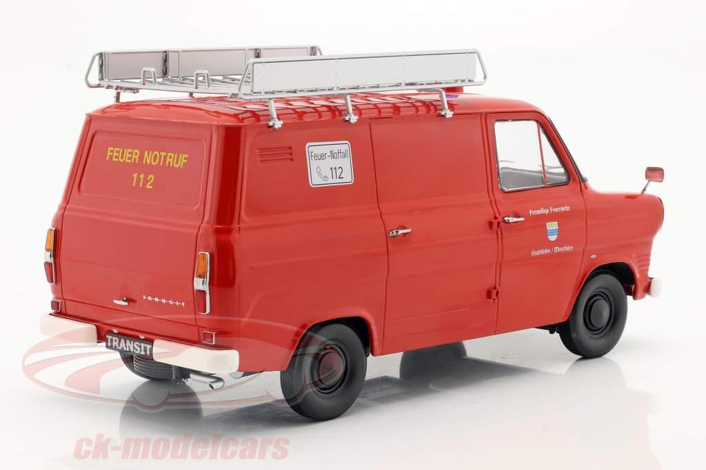 Ford Transit Van de caixa Bombeiros Westfalen Ano de construção 1965 vermelho 1:18 KK-Scale