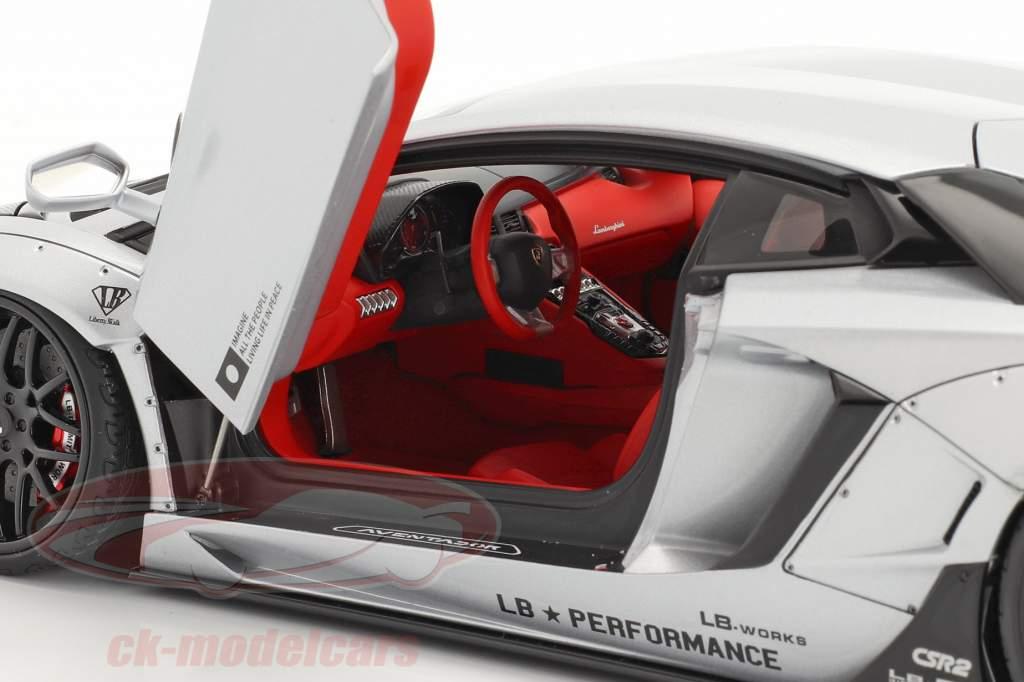 Lamborghini Aventador LB-Works Año de construcción 2018 escarchado plata metálico 1:18 AUTOart