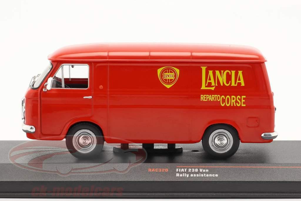 Fiat 238 Van 1972 Rallye dienst Lancia Motorsport rood 1:43 Ixo
