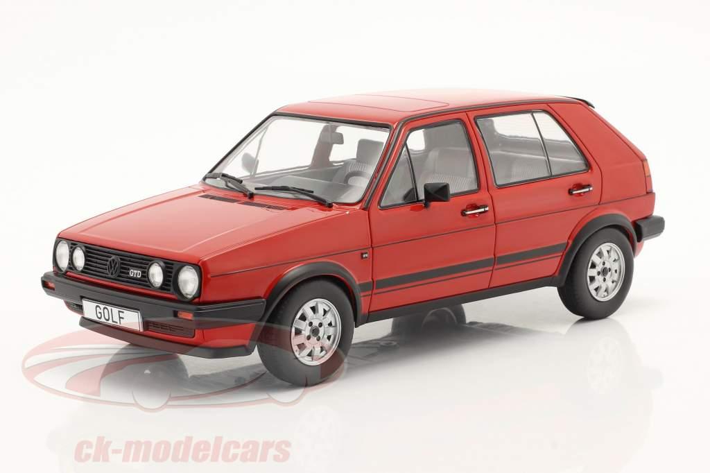 Volkswagen VW Golf II GTD 5 portes Année de construction 1984 rouge 1:18 Model Car Group