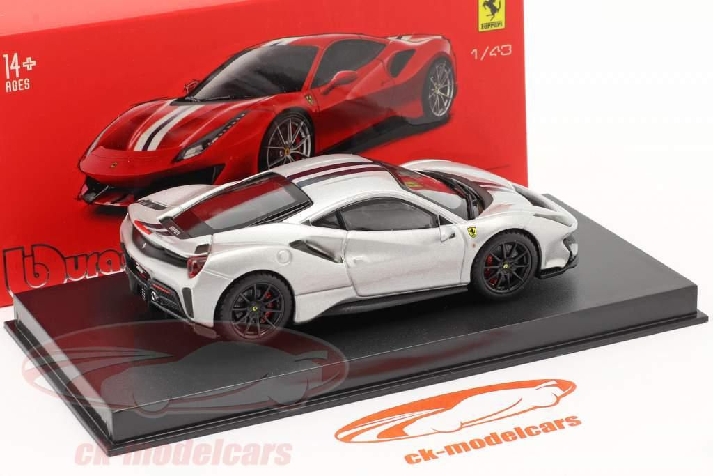 Ferrari 488 Pista year 2018 silver metallic 1:43 Bburago