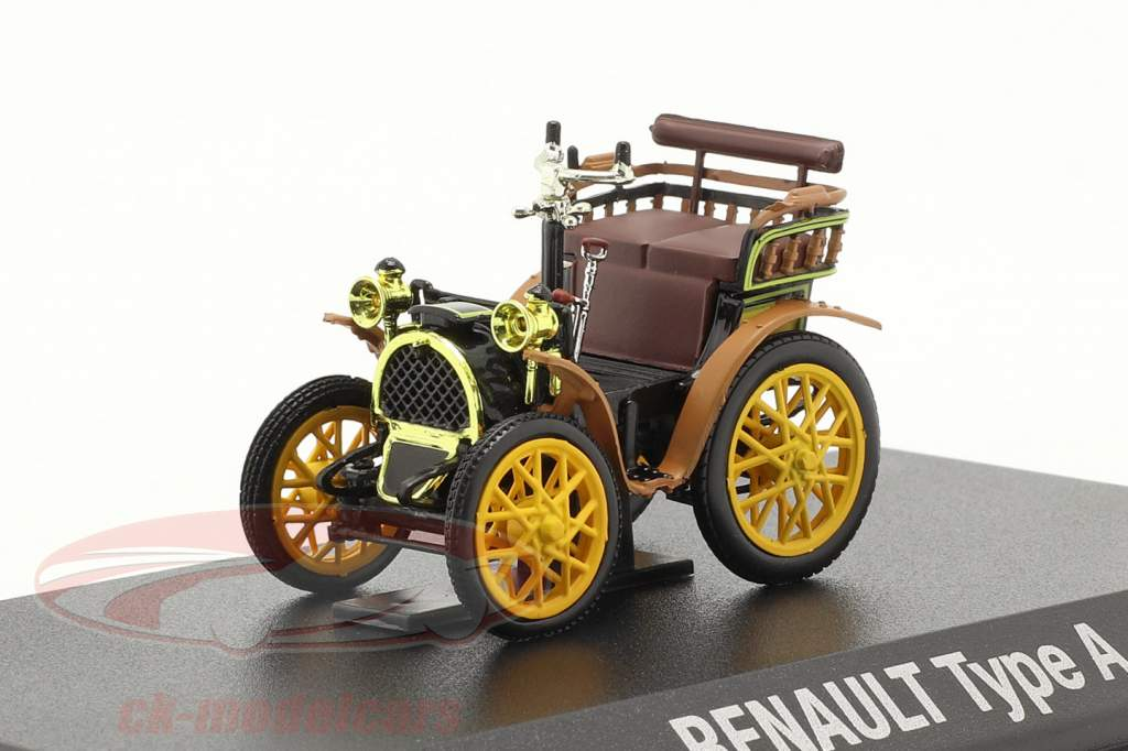 Renault Voiturette Type A bouwjaar 1899 zwart / bruin / geel 1:43 Norev