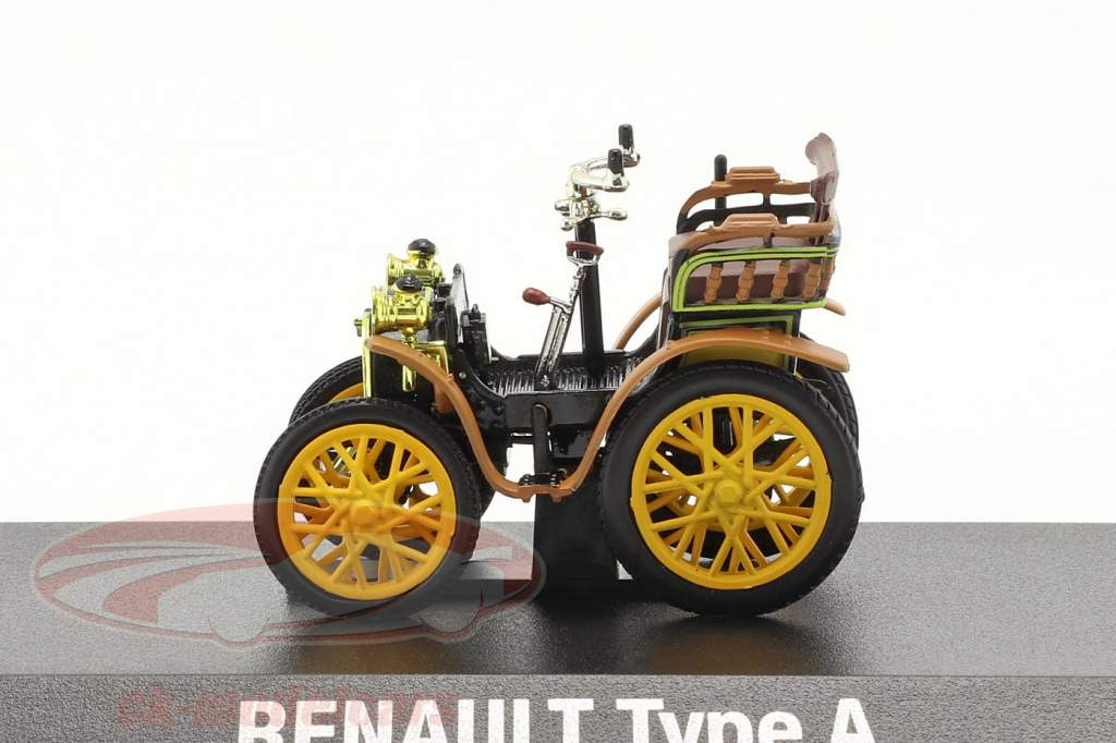 Renault Voiturette Type A Byggeår 1899 sort / Brun / gul 1:43 Norev