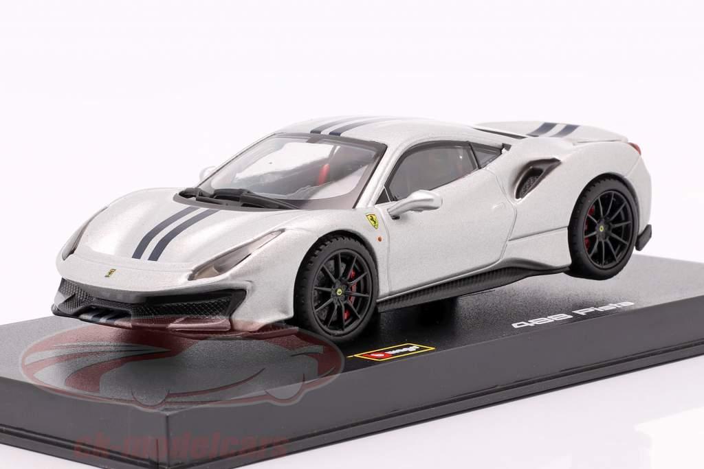 Ferrari 488 Pista Año de construcción 2018 plata metálico 1:43 Bburago