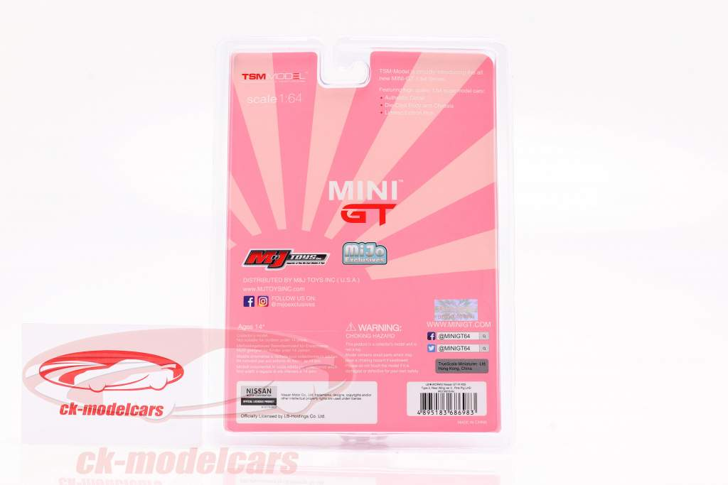 LB-Works Nissan G-TR (R35) Taper 2 LHD Pink Pig dans Blister 1:64 TrueScale