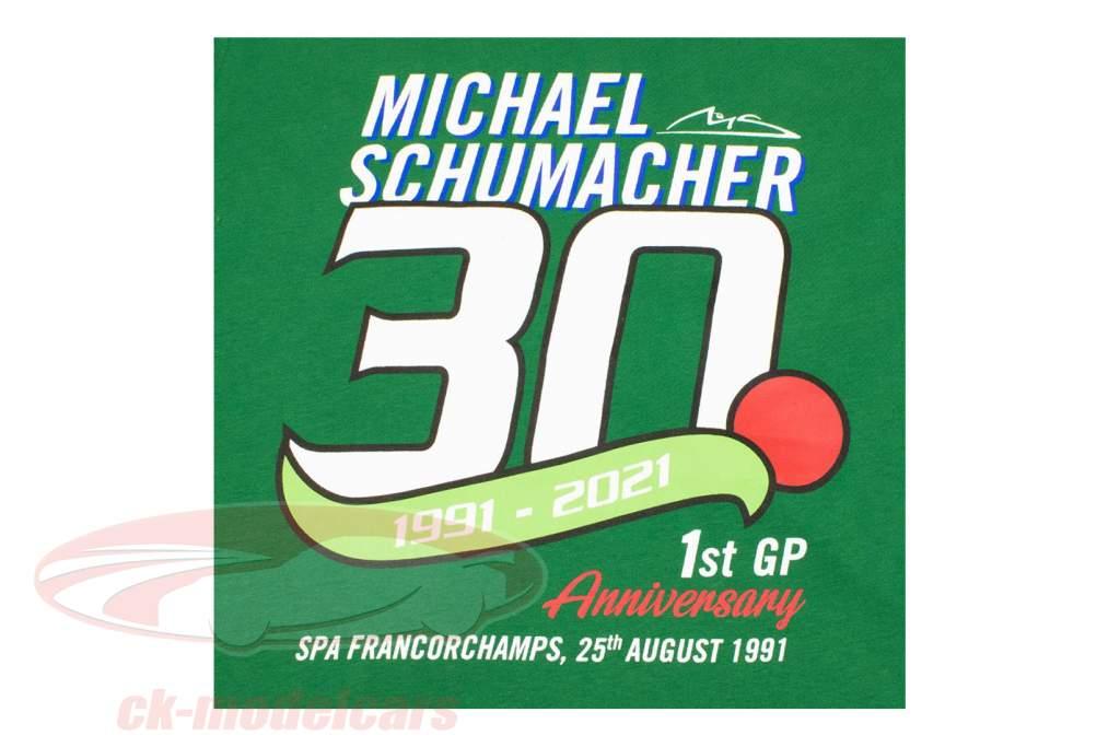 Michael Schumacher T-Shirt Première formule 1 GP Spa 1991 vert