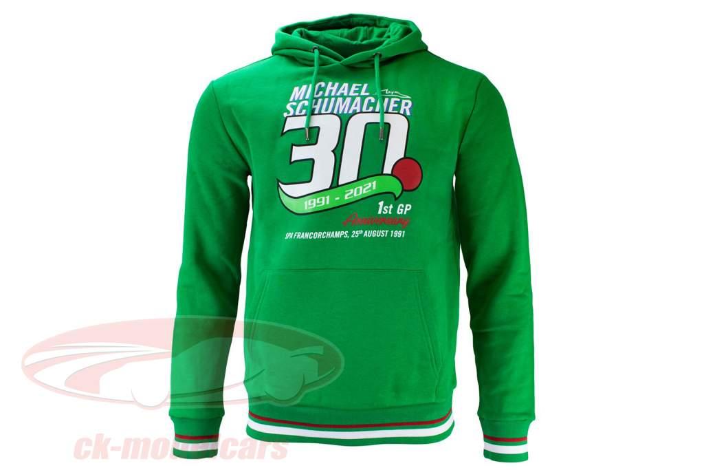 Michael Schumacher Trui met capuchon Eerst formule 1 GP Spa 1991 groente