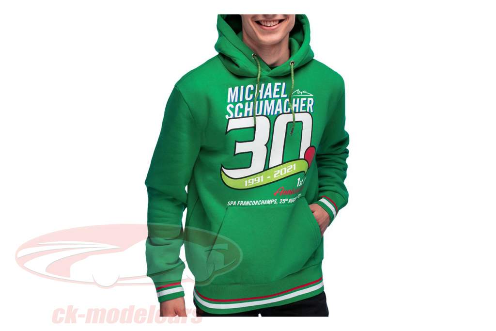 Michael Schumacher Pull à capuche Première formule 1 GP Spa 1991 vert