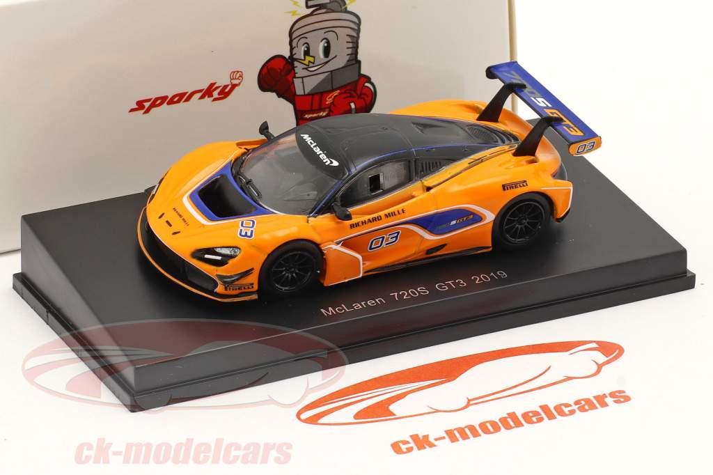 McLaren 720S GT3 2019 #03 orange / blau 1:64 Spark