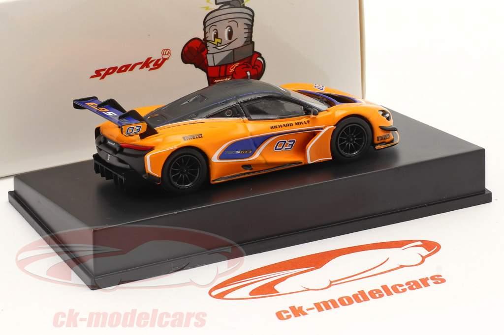 McLaren 720S GT3 2019 #03 Oranje / blauw 1:64 Spark