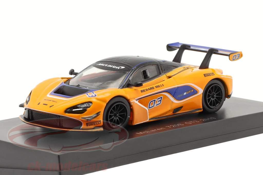 McLaren 720S GT3 2019 #03 Orange / bleu 1:64 Spark