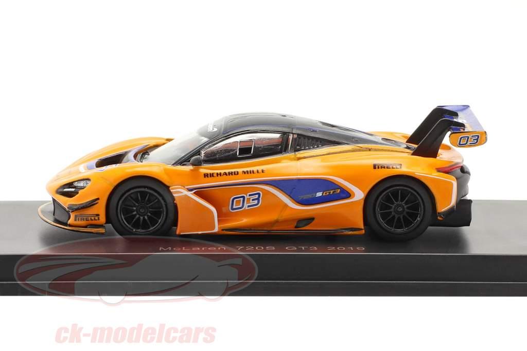 McLaren 720S GT3 2019 #03 laranja / azul 1:64 Spark