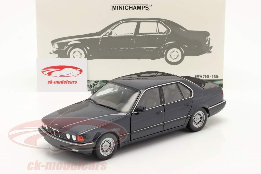 BMW 730i (E32) Année de construction 1986 bleu foncé métallique 1:18 Minichamps