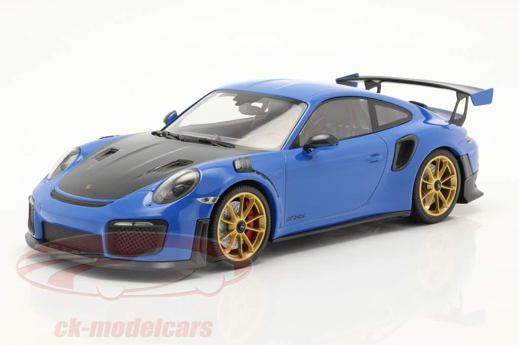 Porsche 911 (991 II) GT2 RS Weissach Package 2018 azul / dorado llantas 1:18 Minichamps