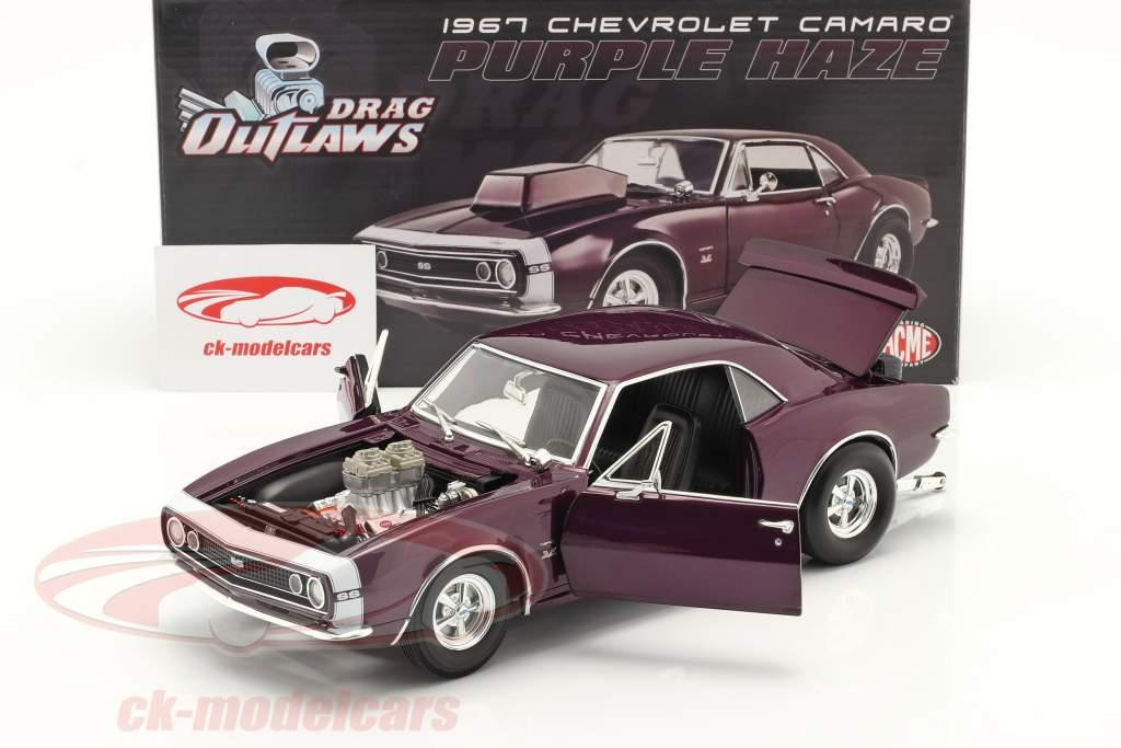 Chevrolet Camaro Drag Outlaws bouwjaar 1967 Purper 1:18 MGP