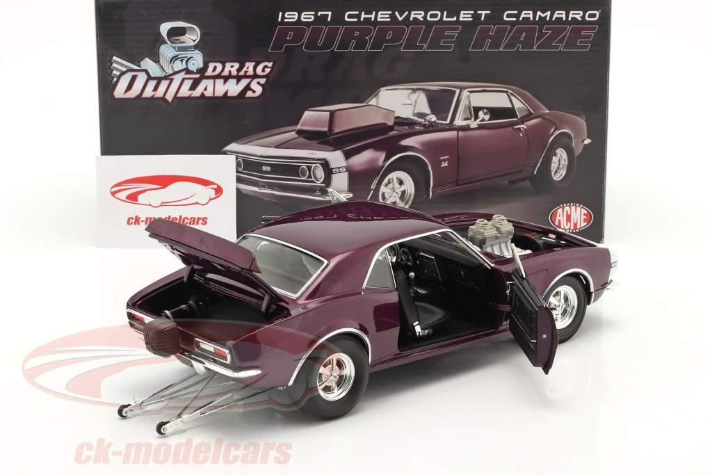 Chevrolet Camaro Drag Outlaws Byggeår 1967 lilla 1:18 MGP