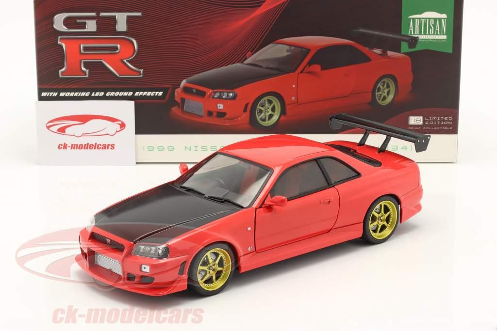 Nissan Skyline GT-R (BNR34) Année de construction 1999 rouge 1:18 Greenlight