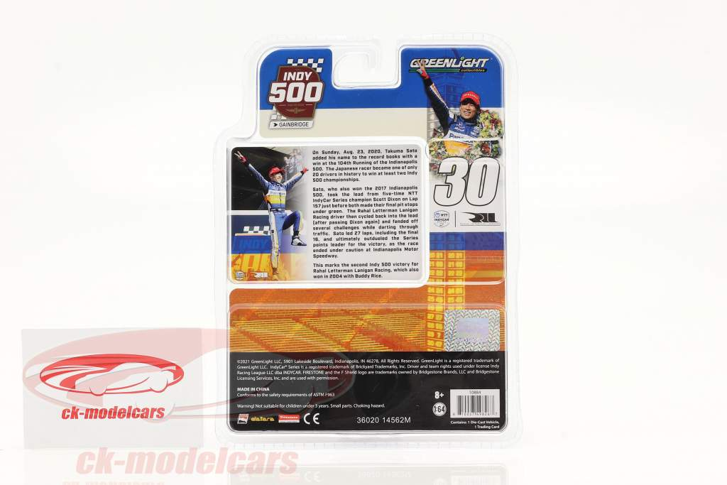 Takuma Sato Honda #30 campeão Indy 500 2020 1:64 Greenlight