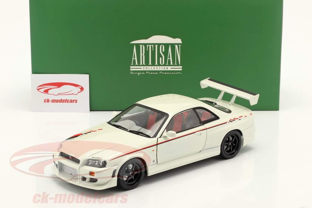 Nissan Skyline GT-R (BNR34) Année de construction 1999 perle blanche 1:18 Greenlight