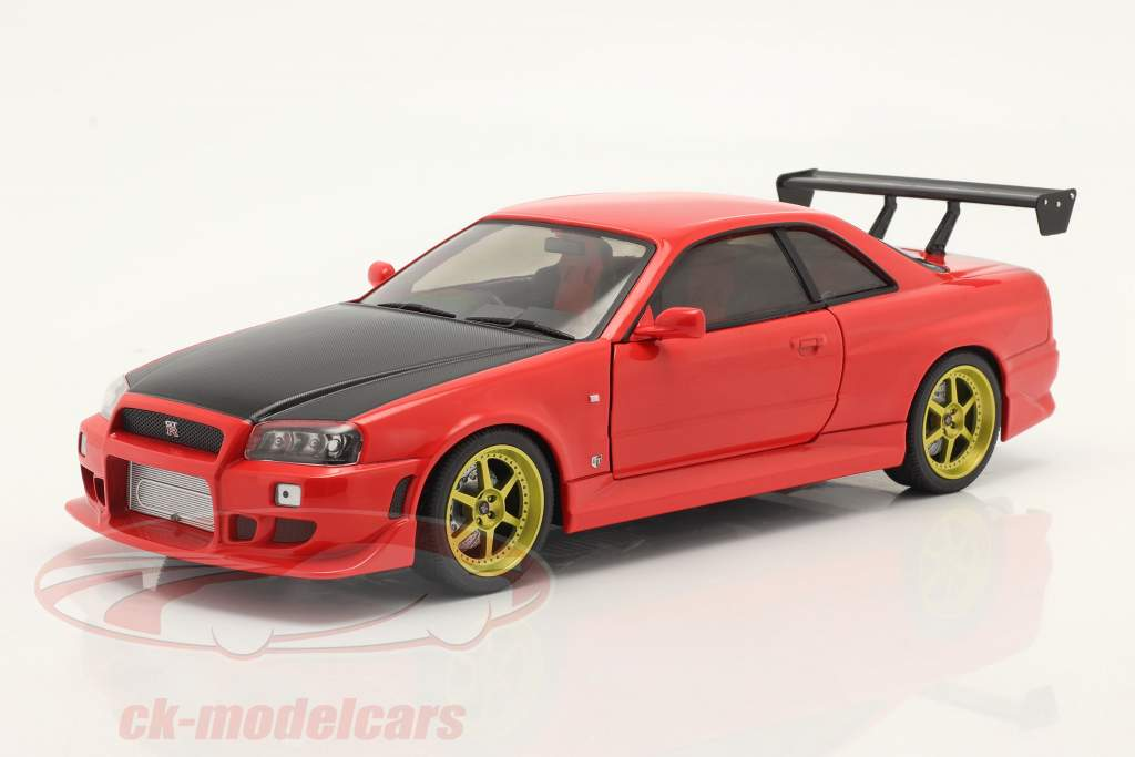 Nissan Skyline GT-R (BNR34) bouwjaar 1999 rood 1:18 Greenlight