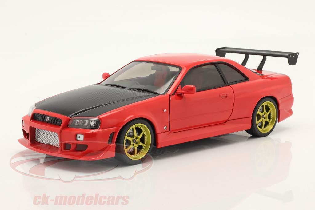 Nissan Skyline GT-R (BNR34) Byggeår 1999 Rød 1:18 Greenlight