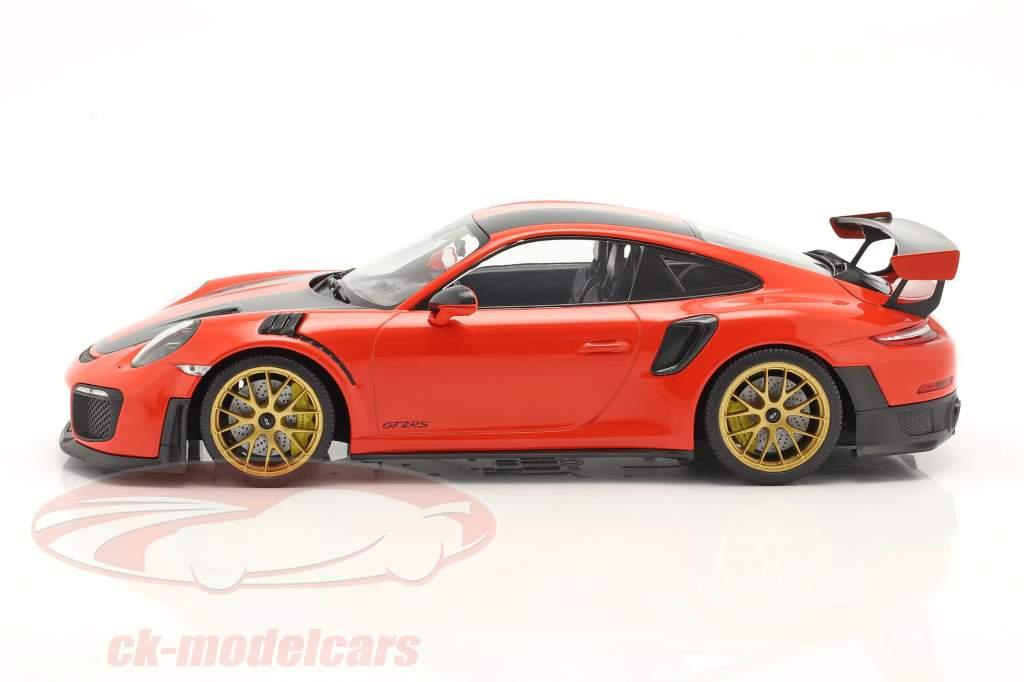 Porsche 911 (991 II) GT2 RS Weissach Package 2018 orange / gylden fælge 1:18 Minichamps