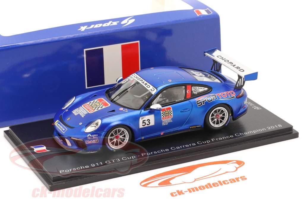 Porsche 911 GT3 Cup #53 kampioen Porsche Carrera Cup Frankrijk 2018 1:43 Spark