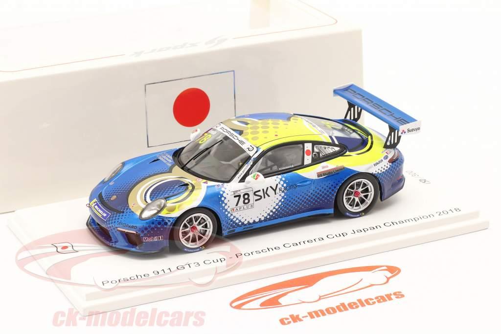 Porsche 911 GT3 Cup #78 campeón Porsche Carrera Cup Japón 2018 1:43 Spark