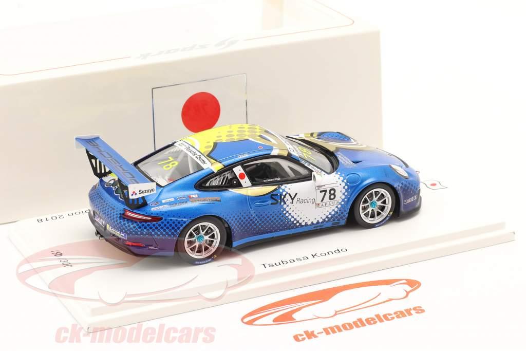 Porsche 911 GT3 Cup #78 kampioen Porsche Carrera Cup Japan 2018 1:43 Spark