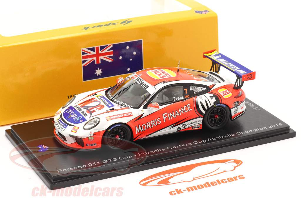 Porsche 911 GT3 Cup #7 campeão Porsche Carrera Cup Austrália 2018 1:43 Spark
