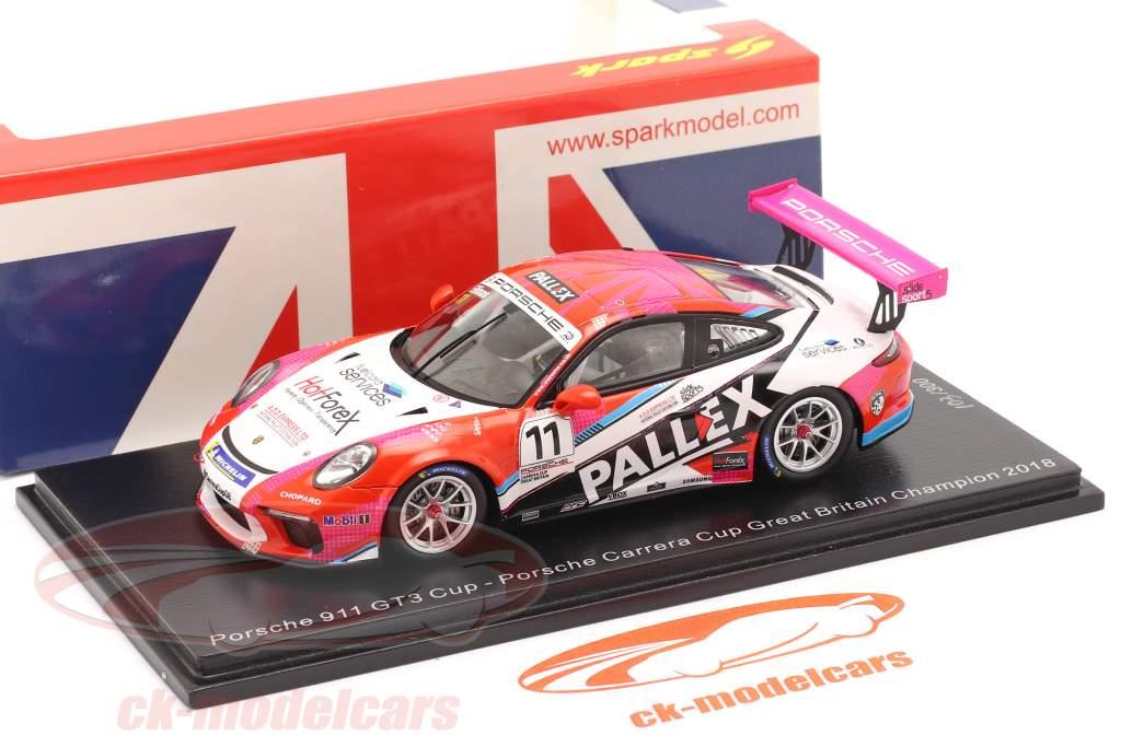 Porsche 911 GT3 Cup #11 campeão Porsche Carrera Cup Reino Unido 2018 1:43 Spark
