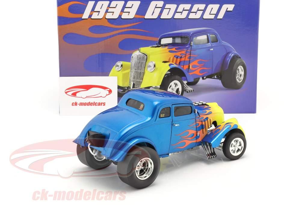 Gasser Flamed bouwjaar 1933 blauw / geel 1:18 GMP