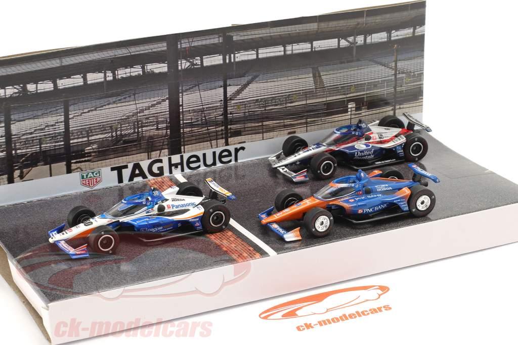 Pódio 3 carros definir Indianapolis 500 IndyCar Series 2020 1:64 Greenlight
