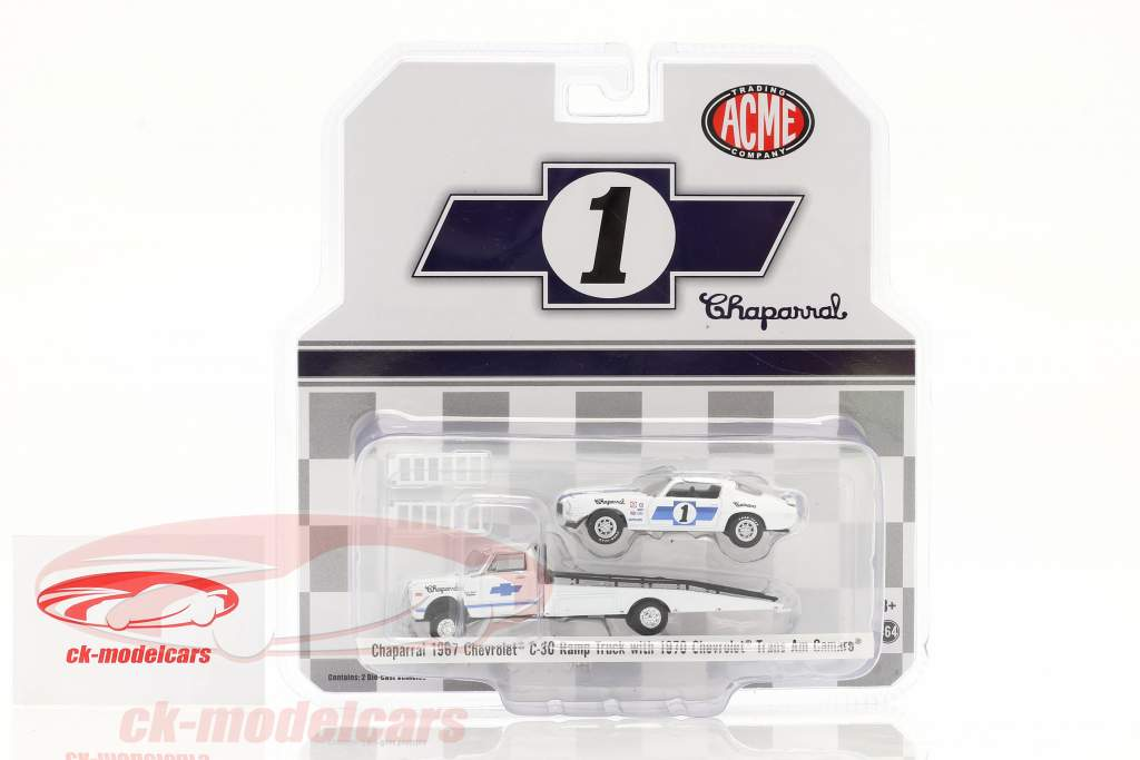 Chevrolet C30 Ramp Truck with Chevrolet Trans Am Camaro #1 Chaparral 1:64 GMP