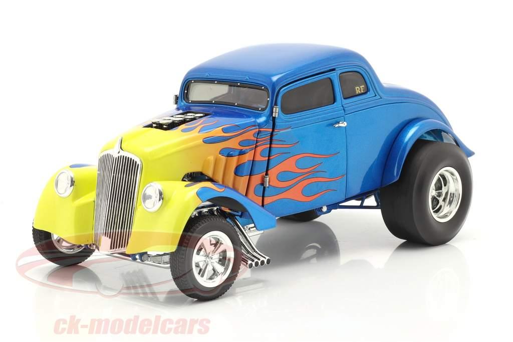 Gasser Flamed Byggeår 1933 blå / gul 1:18 GMP