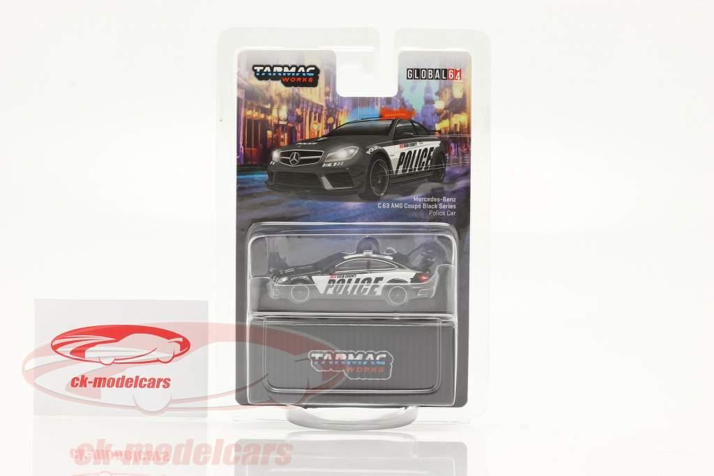 Mercedes-Benz C63 AMG Coupe Black Series Beleid zwart / wit 1:64 Tarmac Works