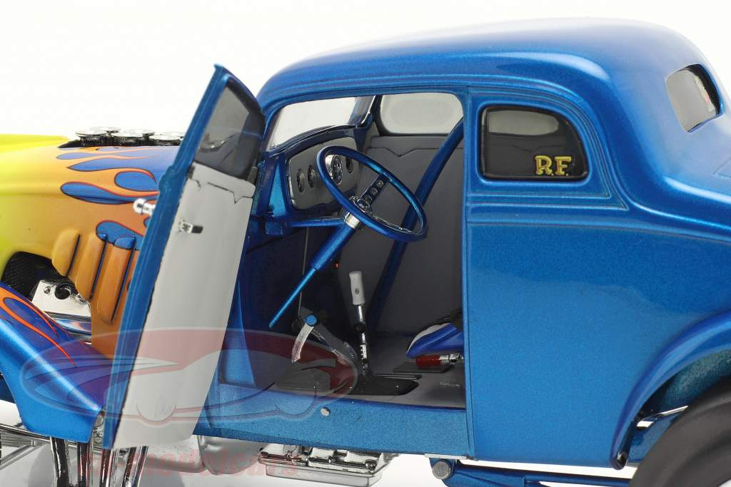 Gasser Flamed Anno di costruzione 1933 blu / giallo 1:18 GMP