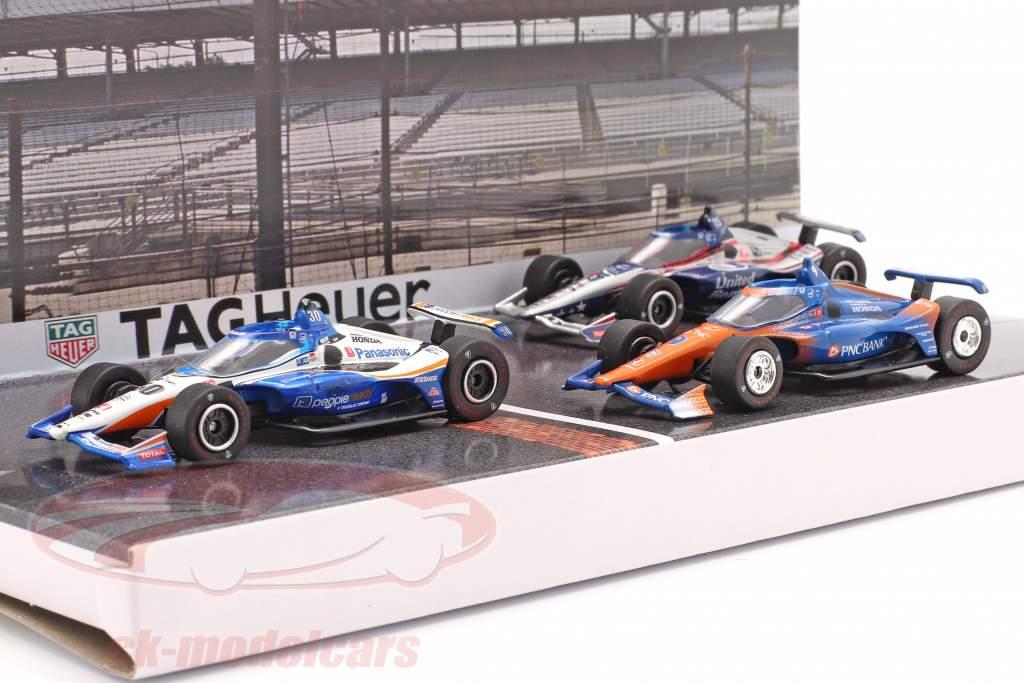 Podium 3 voitures ensemble Indianapolis 500 IndyCar Series 2020 1:64 Greenlight