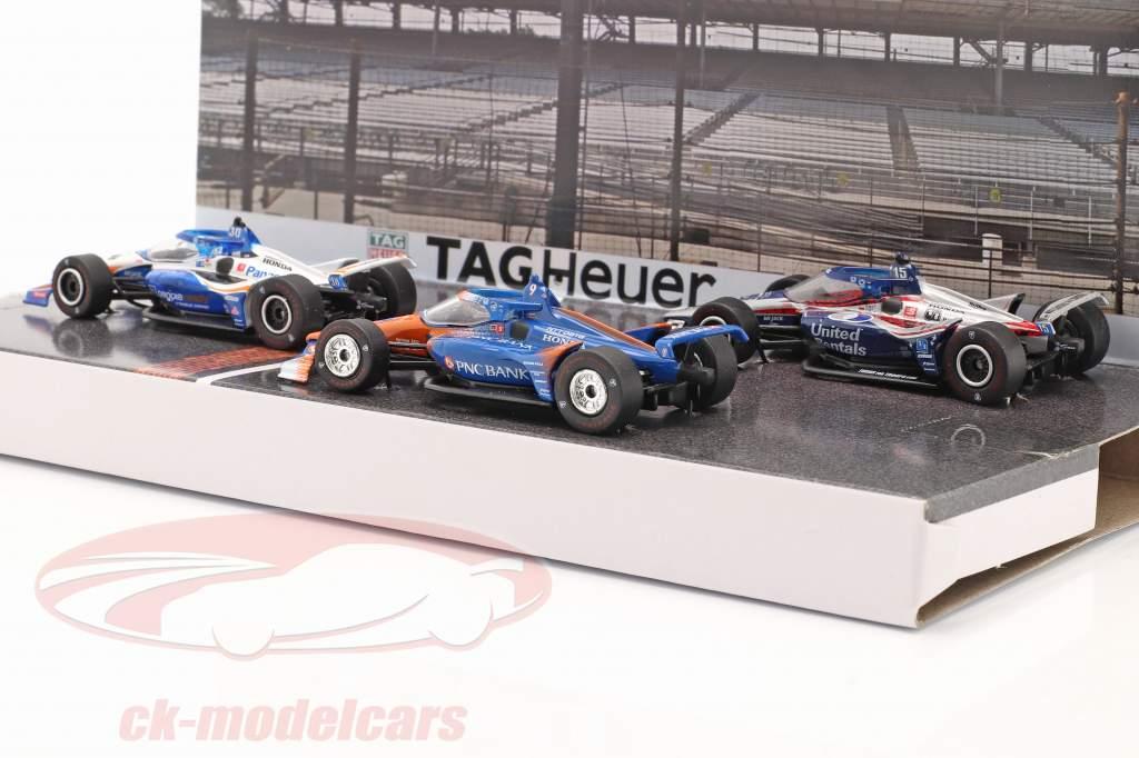 Podie 3-bil sæt Indianapolis 500 IndyCar Series 2020 1:64 Greenlight