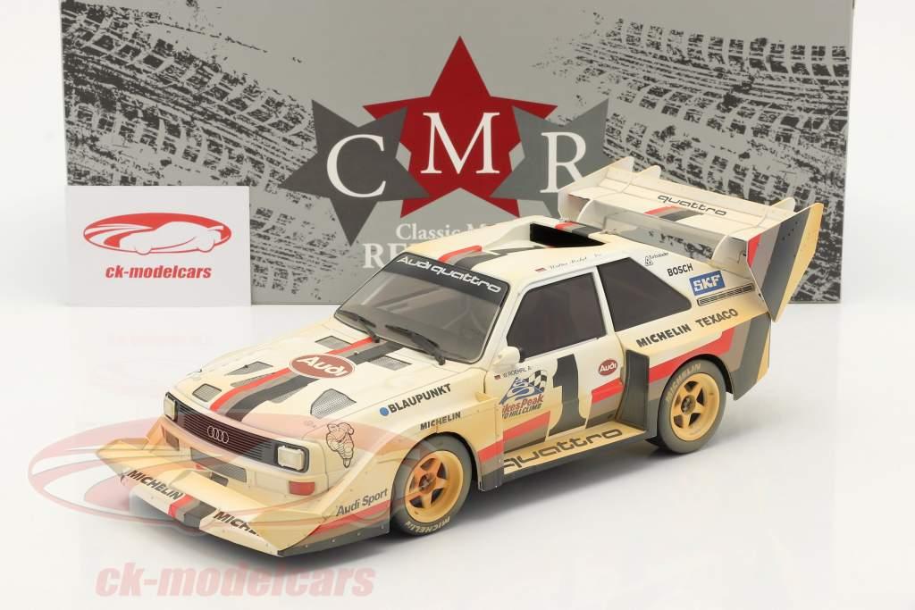 Audi Sport quattro S1 E2 #1 Gagnant Pikes Peak 1987 Röhrl Dirty Version 1:18 CMR